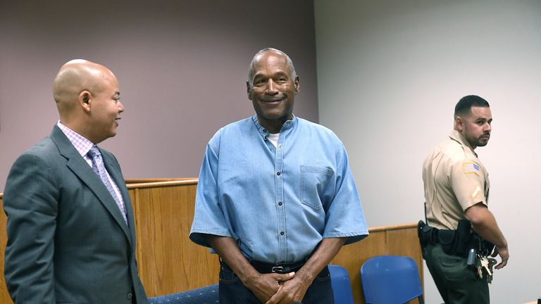OJ Simpson arrives for his parole hearing at Lovelock Correctional Center