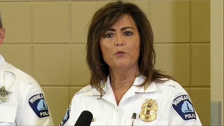 Janee Harteau, Minneapolis Police Chief, speaking about the death of Justine Damond. Pic: KSTP