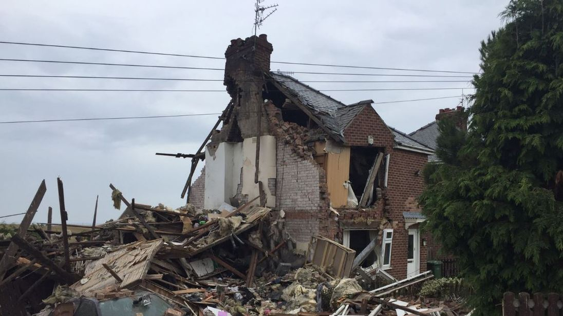 House blown up leaving other semi standing after suspected gas explosion