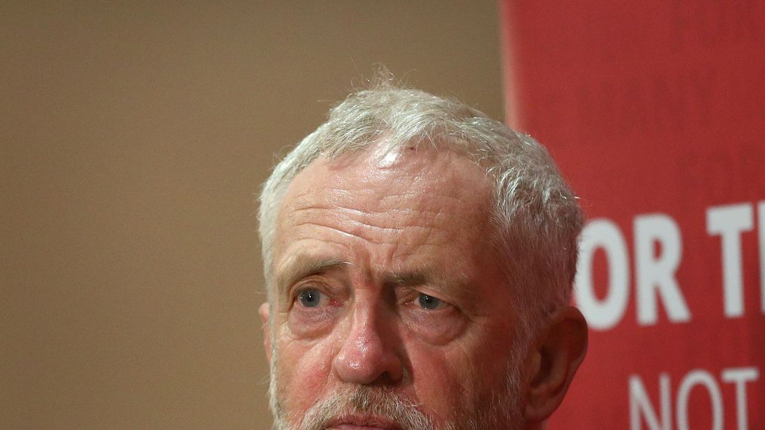Labour leader Jeremy Corbyn at a party members event