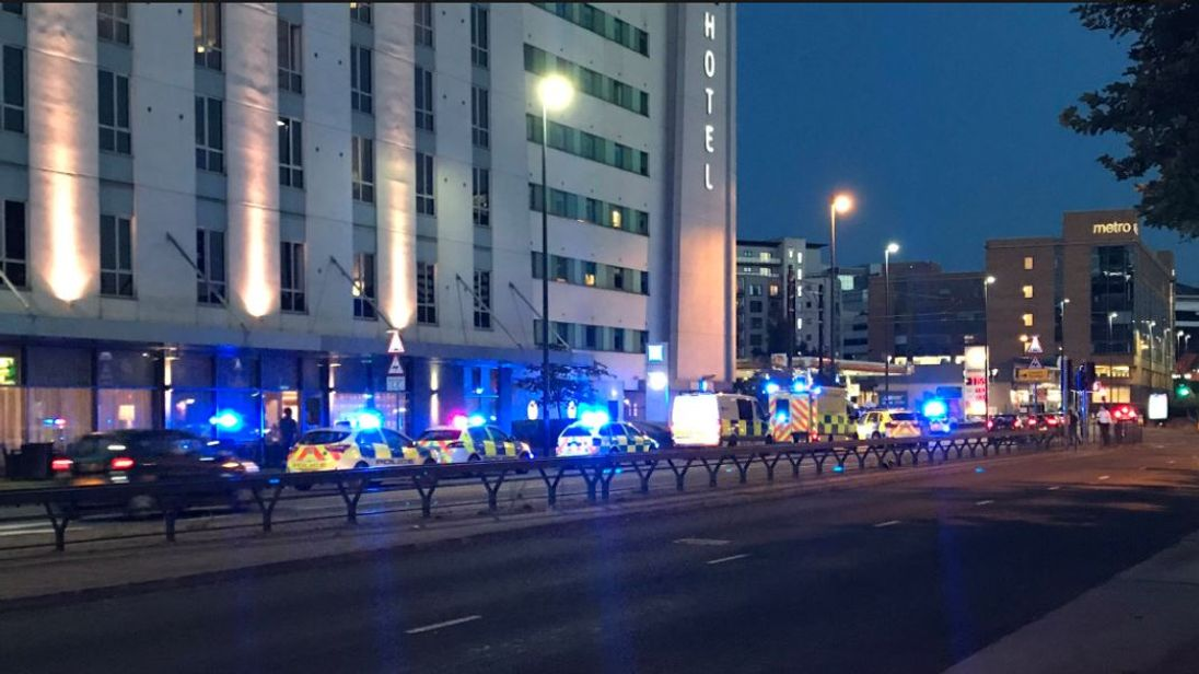 Police and ambulance lined up outside the Ibis Hotel Salford Quays Pic @jmagudom