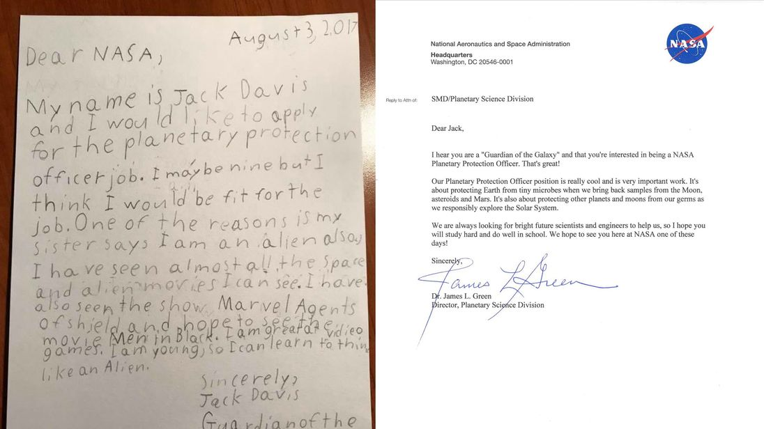 NASA has published a copy of Jack Davis' letter and its response.