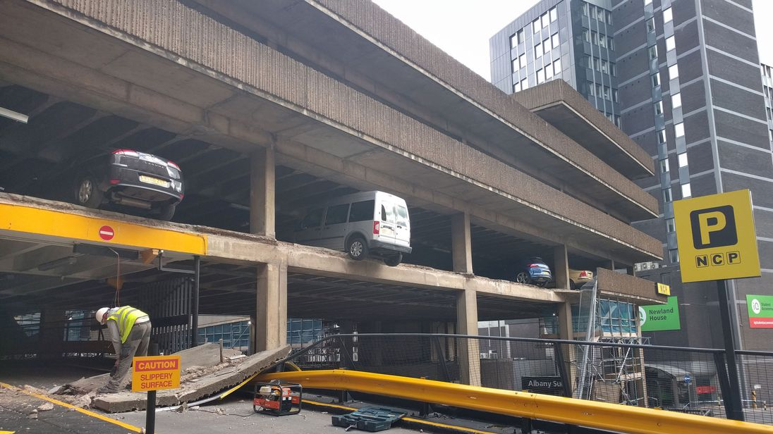 vehicles on the edge as car park wall collapses in nottingham. Black Bedroom Furniture Sets. Home Design Ideas