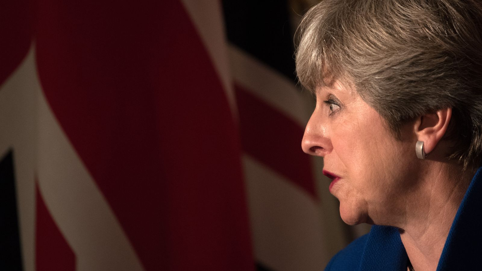 Theresa May speaks during a press conference with Japan's Prime Minister Shinzo Abe
