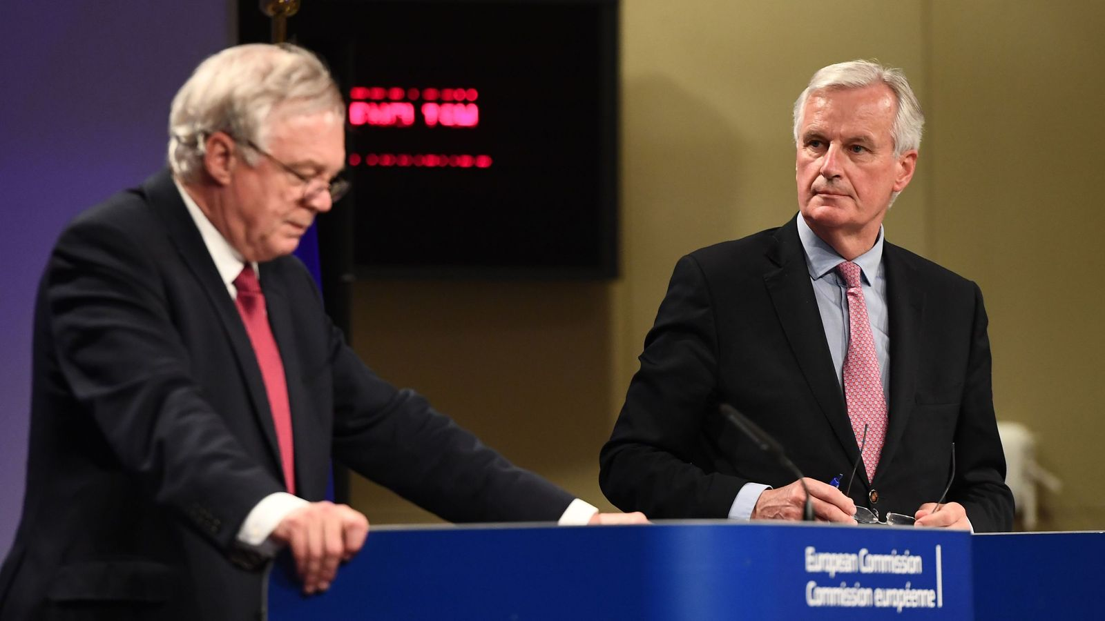 David Davis and Michel Barnier at their corner news discussion after apparently formidable talks