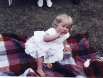 July 1962: Family album picture of Lady Diana Spencer at Park House, Sandringham, on her first birthday