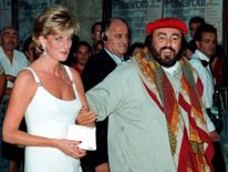 """Sept 1995: Diana attends the concert """"Luciano Pavarotti and friends together for the children of Bosnia """" in Modena, Italy"""