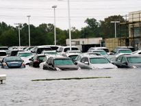 A car dealership near Houston swamped by the floods