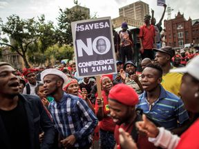 Tens of thousands demonstrated in Pretoria on Mr Zuma's birthday in April