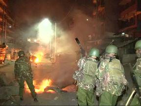 Police fired tear gas in the Nairobi slum areas of Mathare and Kawangware