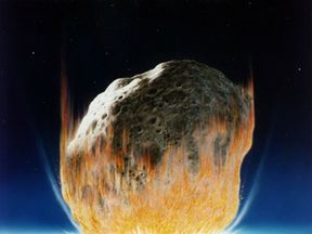 An artist's impression of the devastating asteroid hit that killed off the dinosaurs
