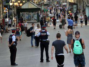 Police patrol at Las Ramblas