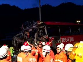 At least 36 people have died after a coach crashed in Qinling tunnel, northern China