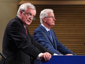 Brexit Secretary David Davis and the EU's chief negotiator Michel Barnier