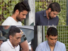 Suspects (clockwise) Mohammed Aalla, Salah el Karib, Driss Oukabir and Mohamed Houli Chemlal