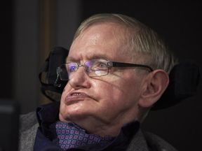 British scientist Stephen Hawking attends the launch of The Leverhulme Centre for the Future of Intelligence (CFI) at the University of Cambridge, in Cambridge, eastern England, on October 19, 2016