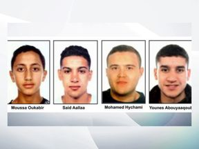 The four men wanted were pictured in a police document
