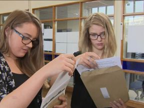 Students discovering their grades at Congleton High School in Cheshire