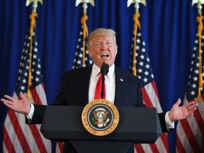 Donald Trump speaks to the press about protests in Charlottesville