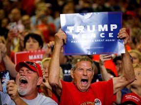 Trump supporters at a rally in Huntingdon, West Virginia