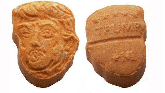 The ecstasy pills found in Germany shaped like Donald Trump's head