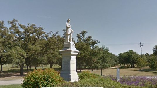 A statue of Confederate leader Richard Dowling at a park in Houston