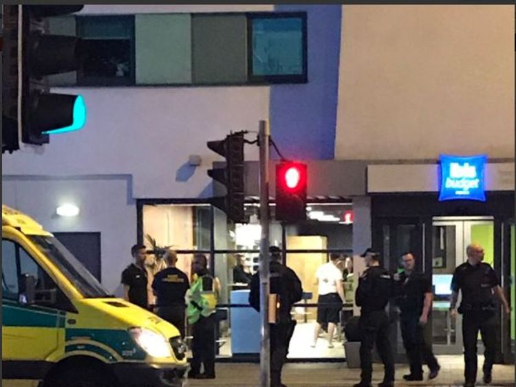 Police at the Ibis Hotel Salford Quays after a young boy died Pic @jmagudom