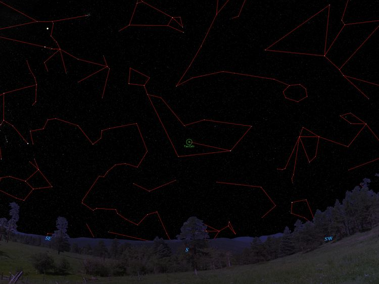 Tau Ceti's location in the night sky. Pic: Fabo Feng, University of Hertfordshire