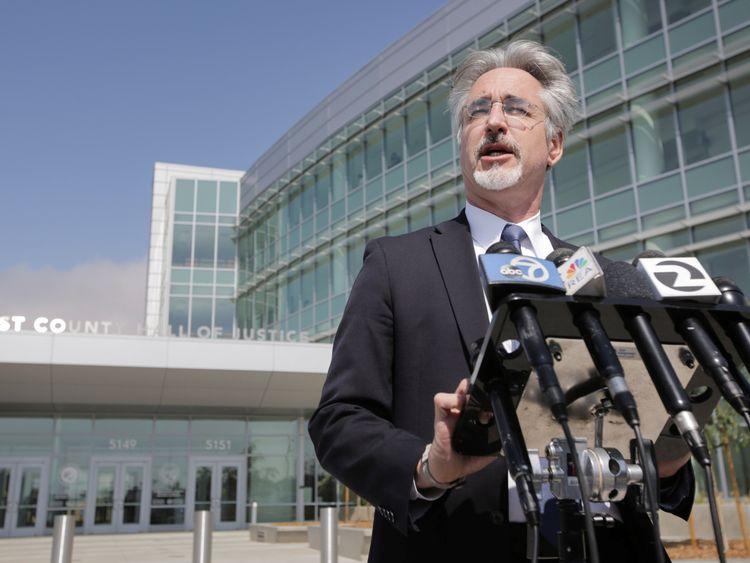 Attorney Ken Wine speaks to the press outside the Alameda County Superior Court regarding the arraignment of Northwestern University professor Wyndham Lathem