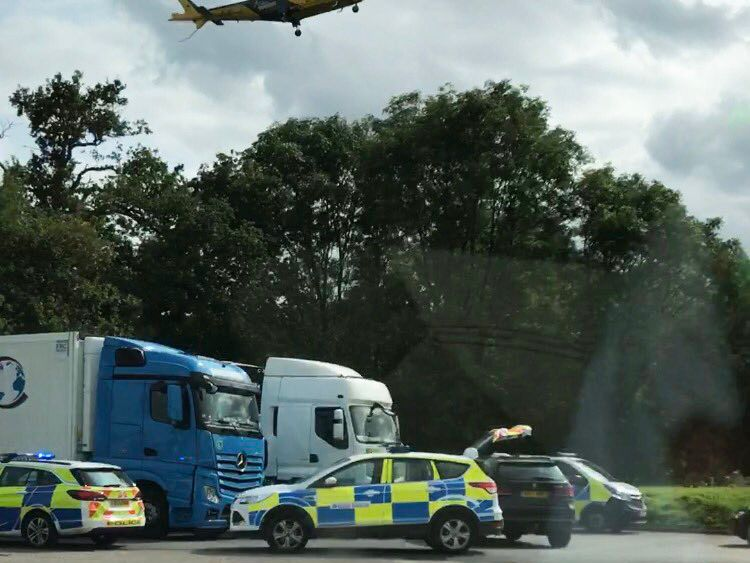 Pictures show the air ambulance was called to the scene