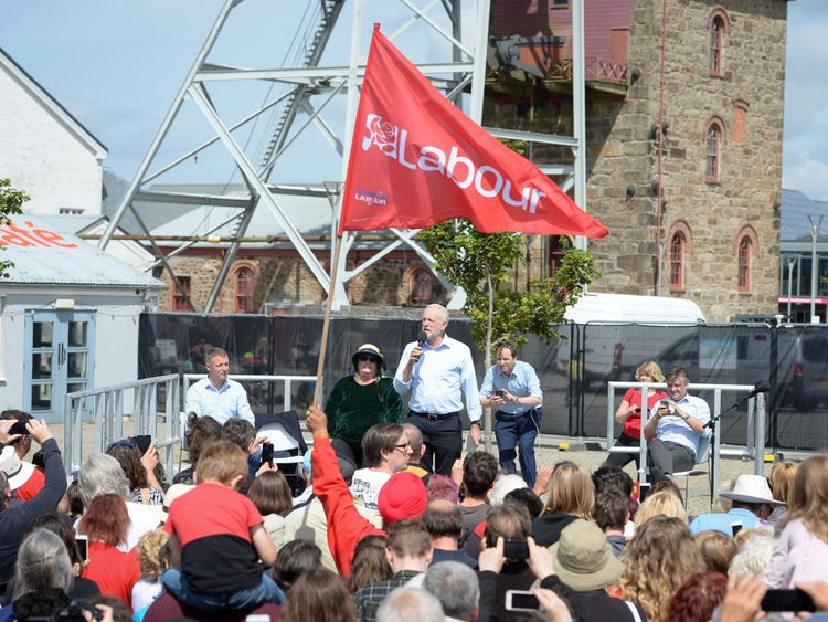 Jeremy Corbyn at a rally in Cornwall