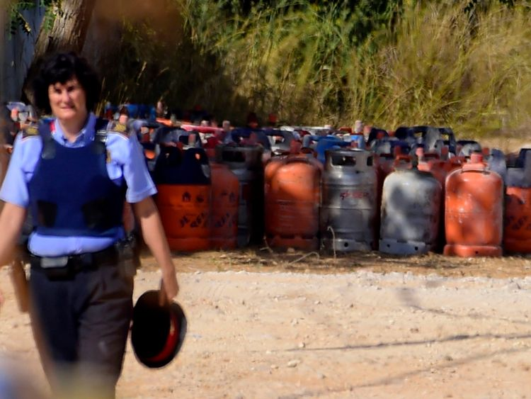 Dozens of gas canisters were found at the terror cell's 'base' in Alcanar