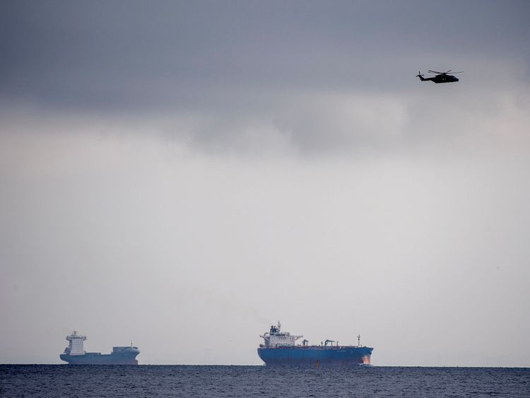 Helicopters and ships searched the bay after the submarine was reported missing
