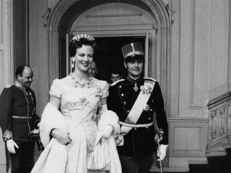 The royal couple attend a gala dinner in 1973