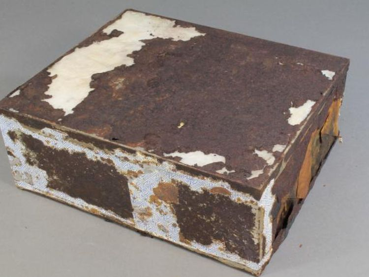 The tin containing the cake was heavily damaged. Pic Antarctic Heritage Trust