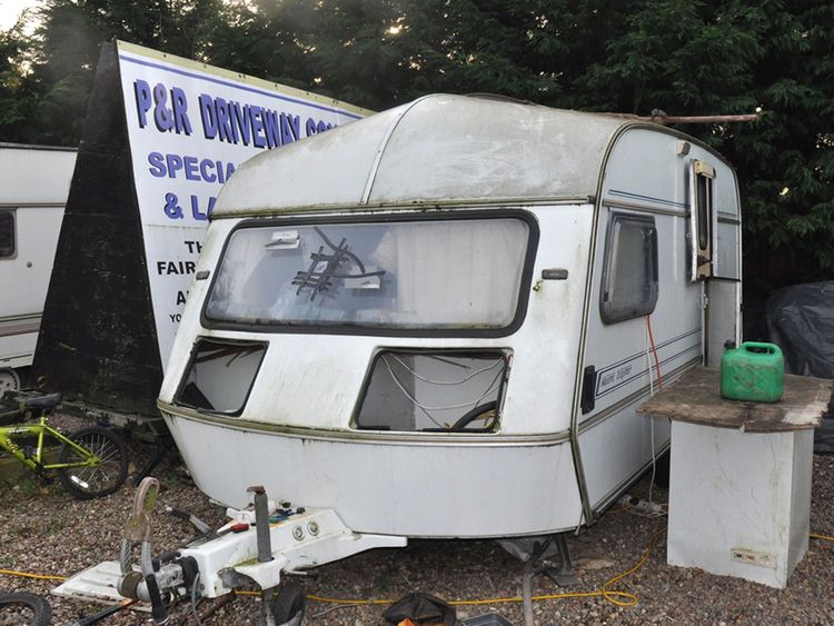 A caravan where men were forced to live by the Rooneys