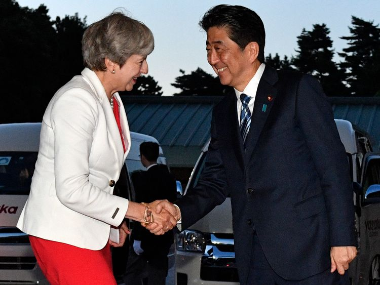 Theresa May and Japanese PM Shinzo Abe