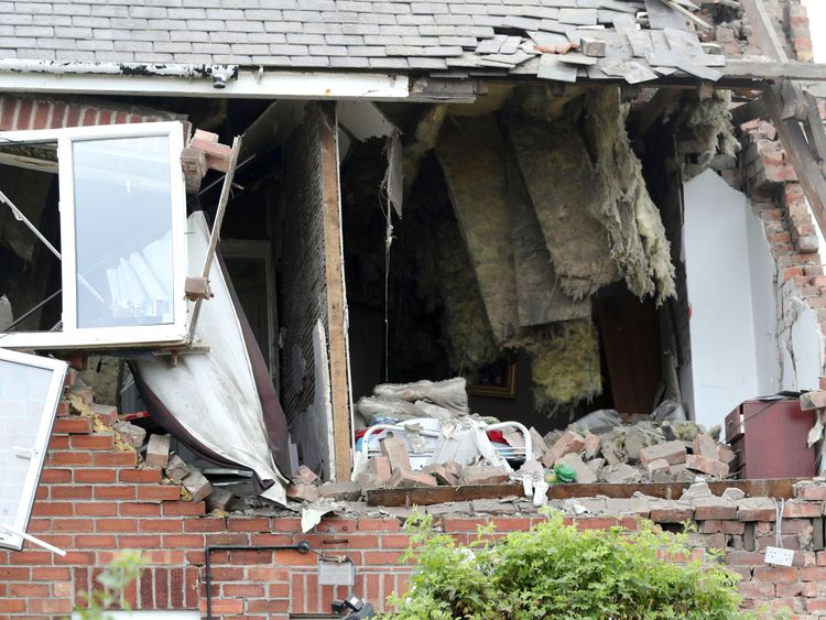 Damage to a property in Rosslyn Avenue, Sunderland, after an explosion