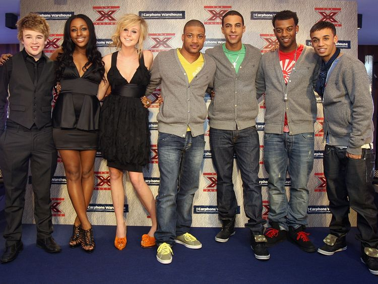 Alexandra Burke (2ndL) beat Eoghan Quigg (L),  Diana Vickers (3rdL) and JLS (Right) to take the 2008 X Factor crown.