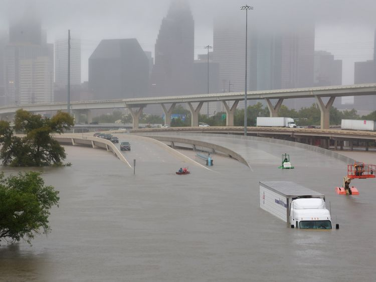 Interstate highway 45 is submerged from the effects of Hurricane Harvey seen during widespread flooding in Houston, Texas, U.S. August 27, 2017