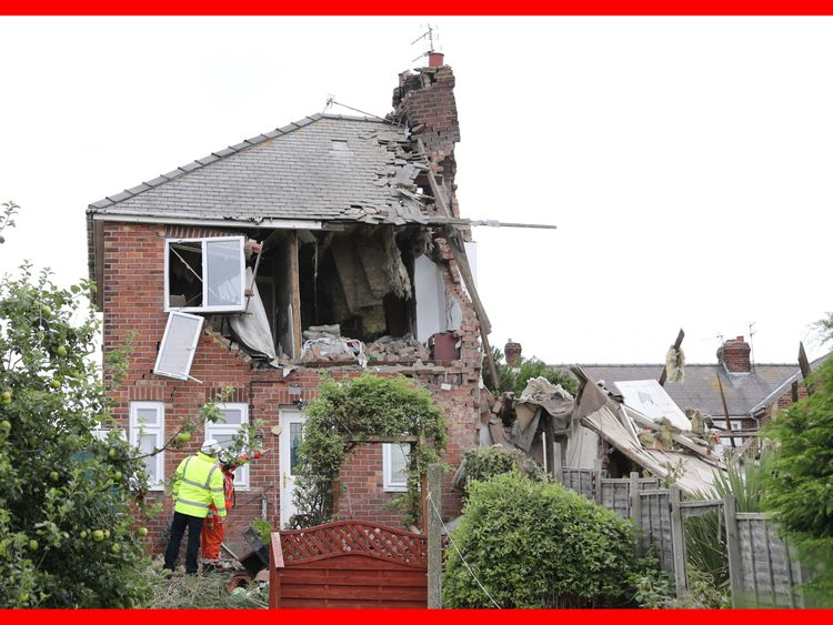 The scene in Rosslyn Avenue, Sunderland, after an explosion at a house
