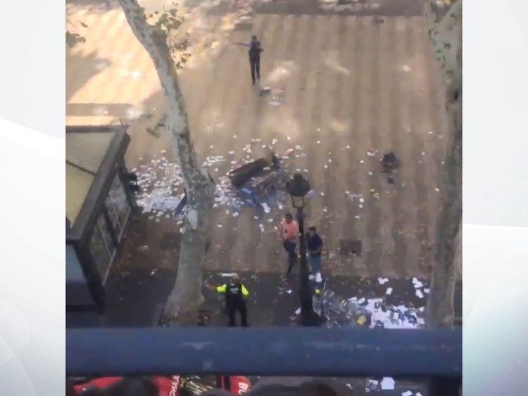 Debris on the ground after a van hit pedestrians in Barcelona