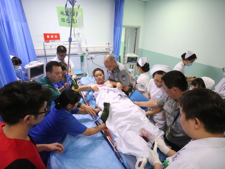 A woman who was injured being treated at Mianyang Central Hospital