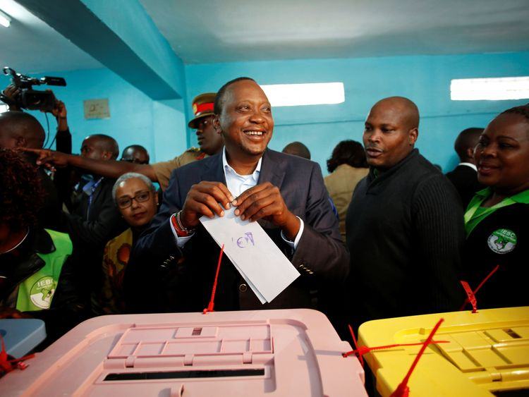 President Uhuru Kenyatta casts his opinion in a election