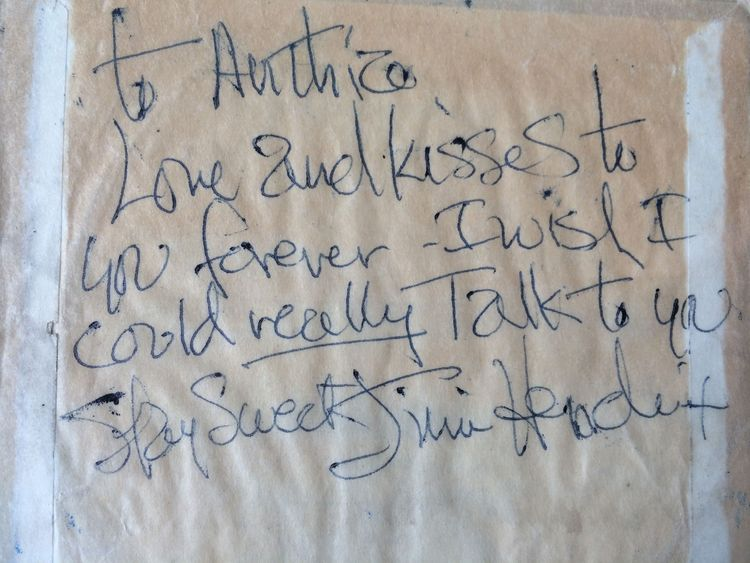 Jimi Hendrix wrote this note to Anthea Connell at a gig in 1967 on the back of a guitar strings packet.