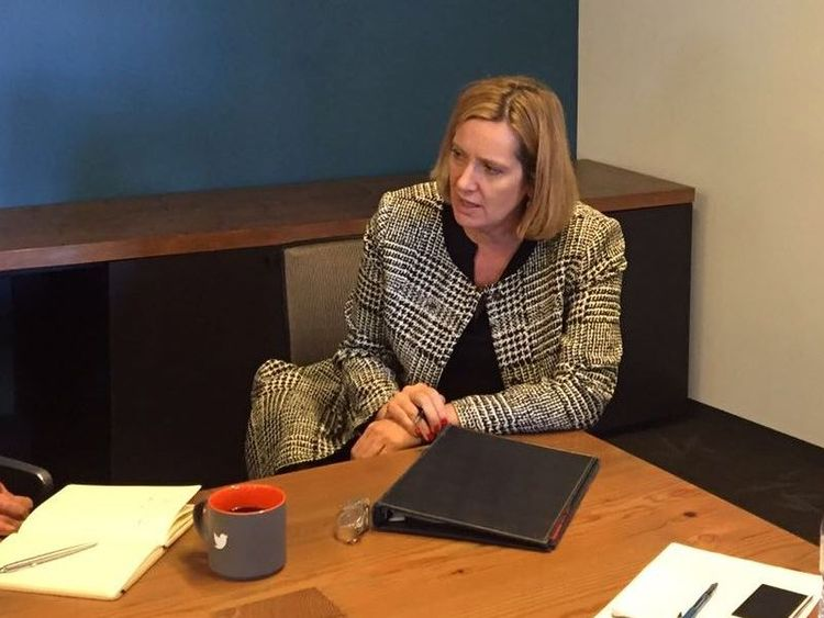 Amber Rudd visited Twitter HQ to talk about ways to tackle terrorist content online. Pic @ukhomeoffice.