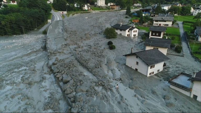 The landslide hit the Val Bondasca region of Switzerland, near the border with Italy