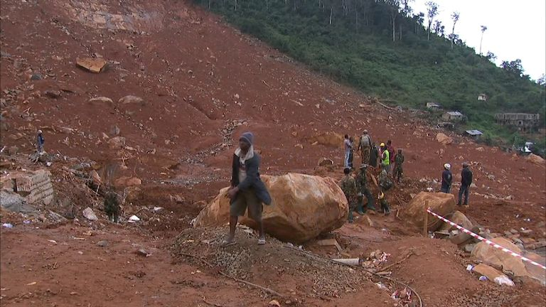 Huge boulders were among the hundreds of tons of earth that came down on Sugar Loaf Mountain