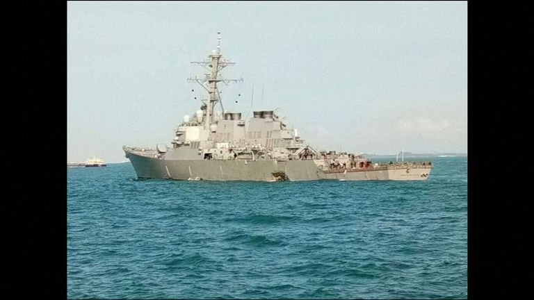 The USS John S McCain sustained damage to her 'port side aft', the Navy said