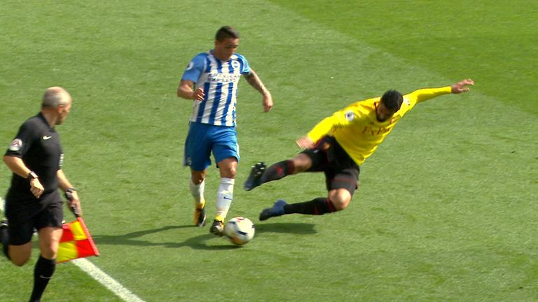 Miguel Britos was shown a straight red card for his challenge on Anthony Knockaert